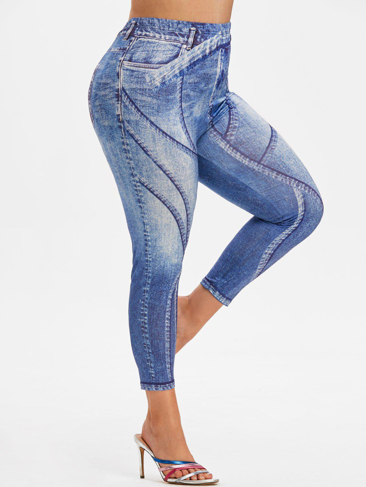 Shop Plus Size 3D Jean Print Ninth Tight Jeggings