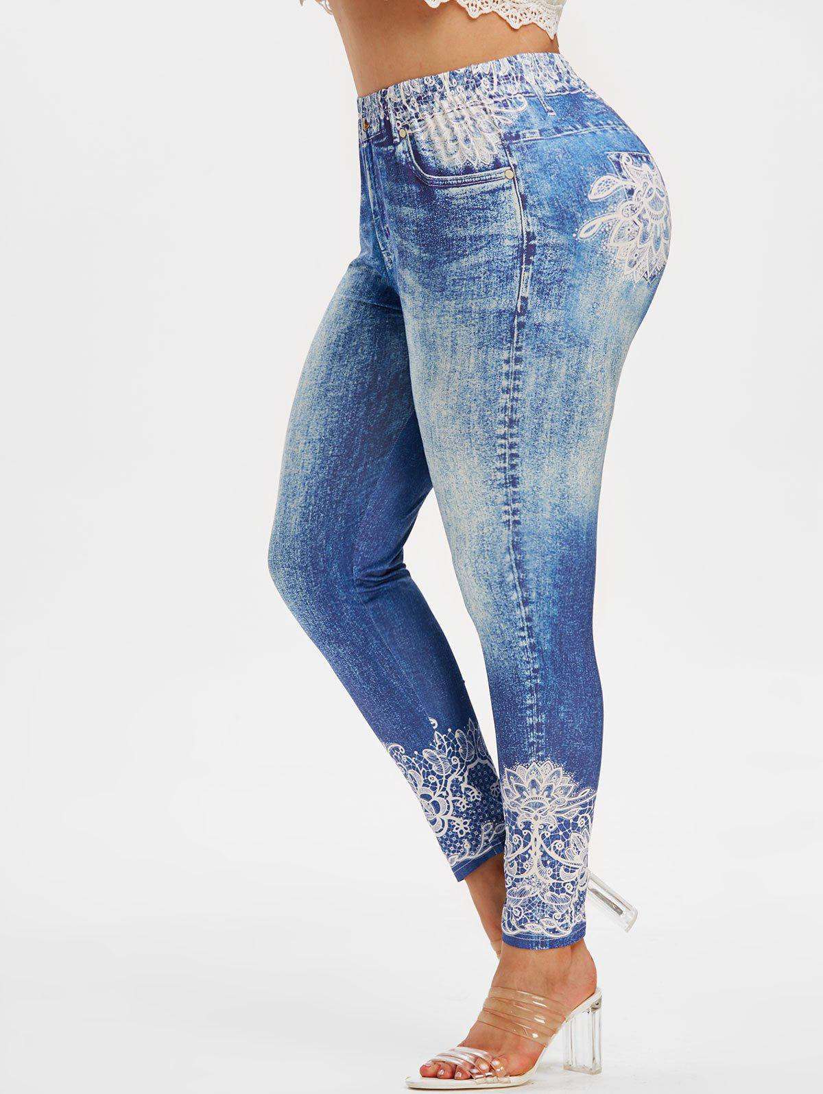 Best Plus Size High Rise 3D Lace Jean Print Skinny Jeggings