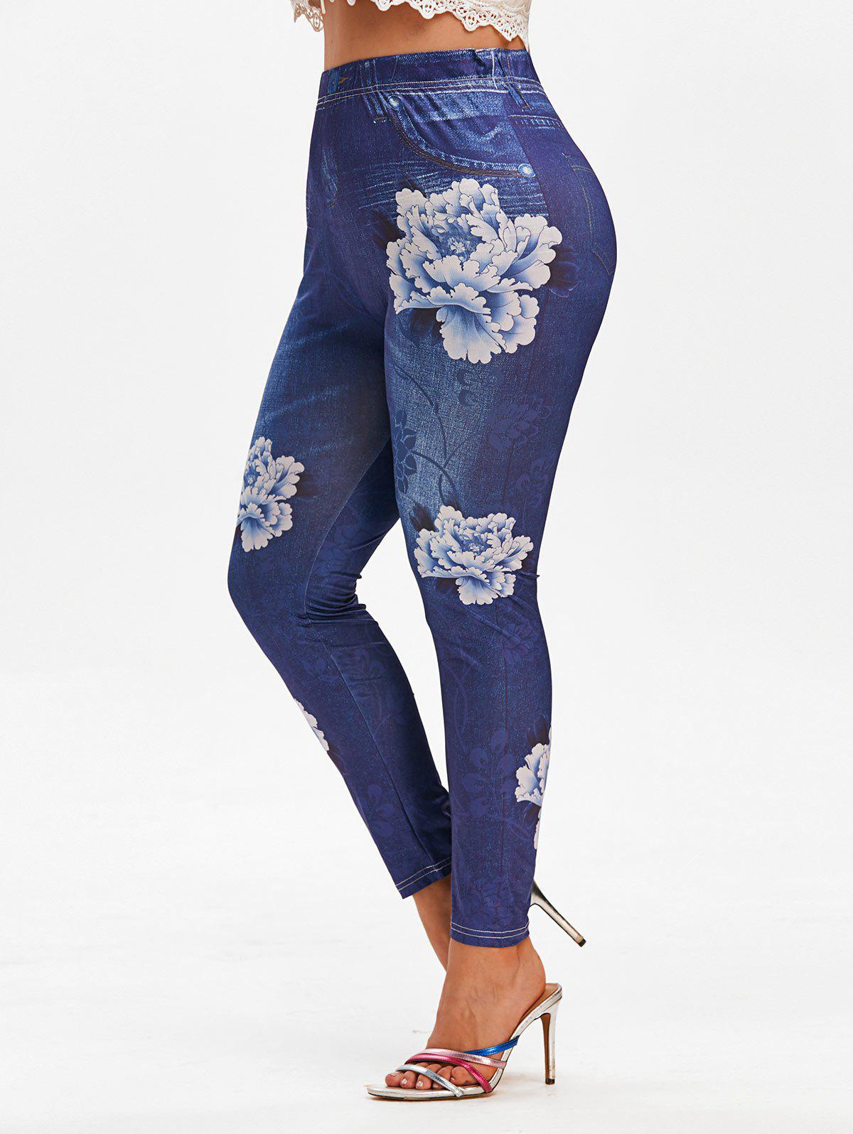 Buy Plus Size 3D Flower Printed High Waisted Jeggings