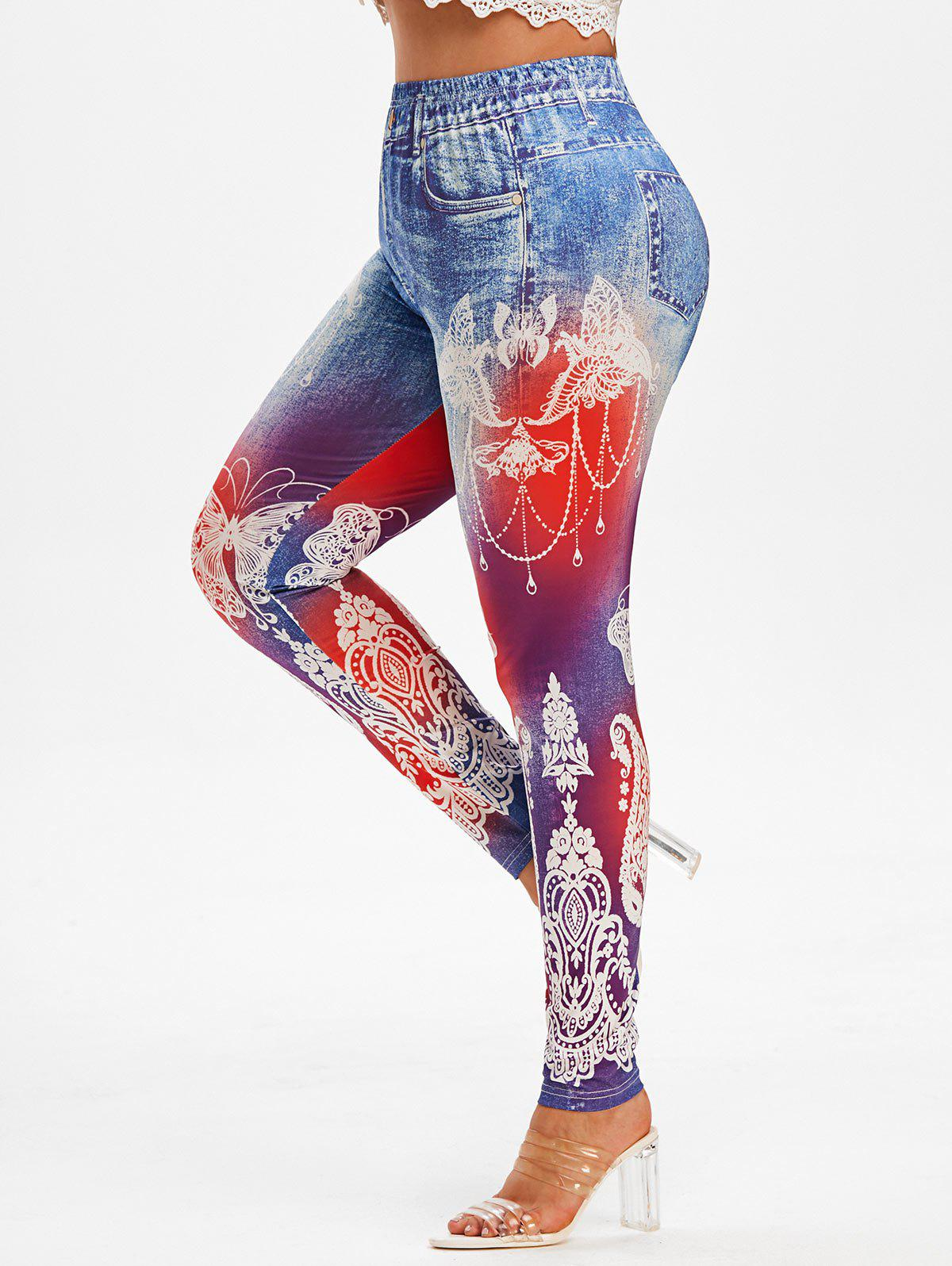 Fashion Plus Size Butterfly 3D Jean Pattern High Waisted Jeggings
