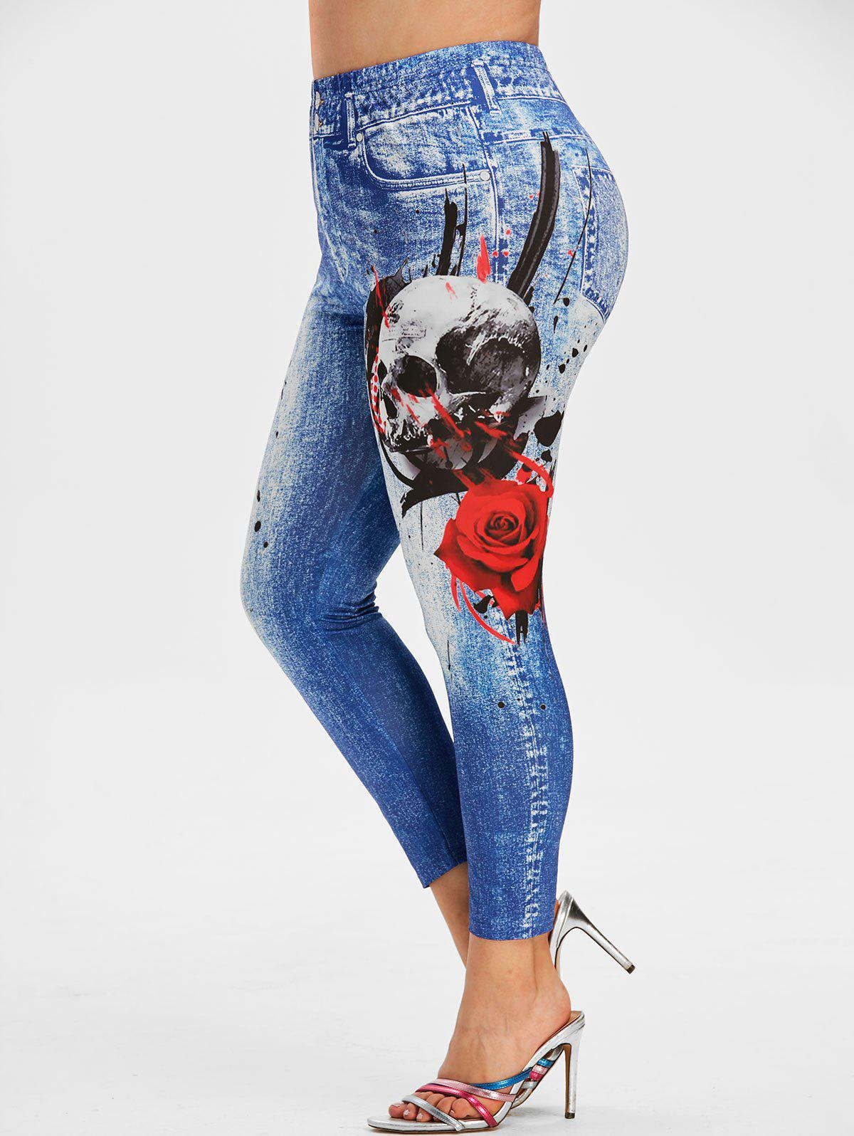 Outfits Plus Size Skull Rose Print Halloween Ninth Jeggings