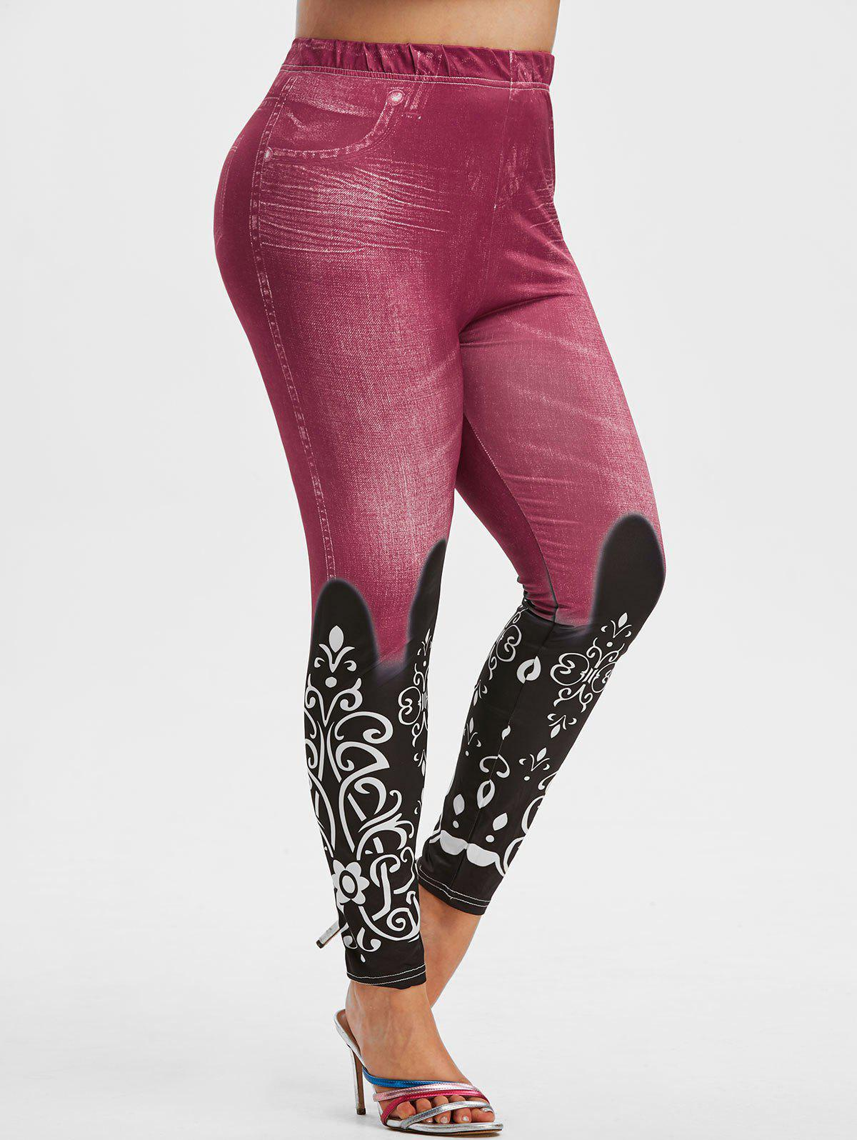 Fashion Plus Size 3D Jean Print High Waisted Jeggings