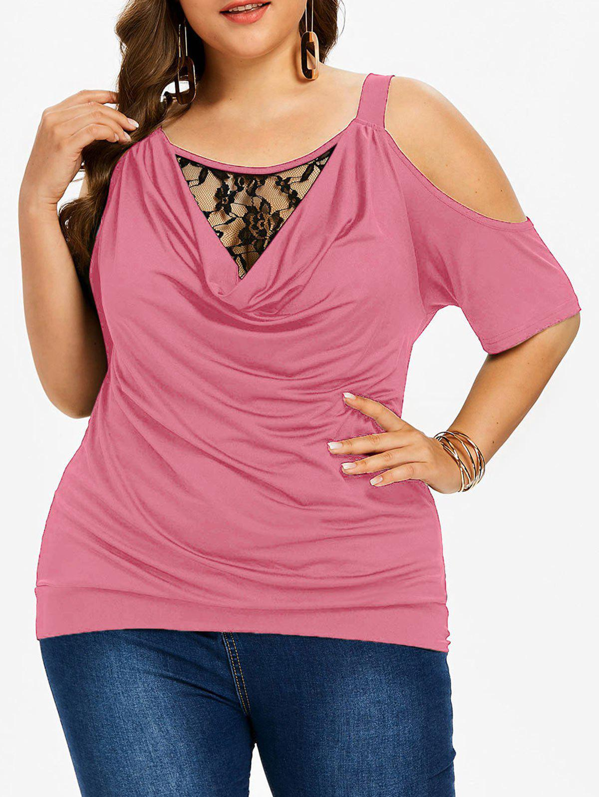 Buy Plus Size Lace Insert Cowl Neck T-shirt