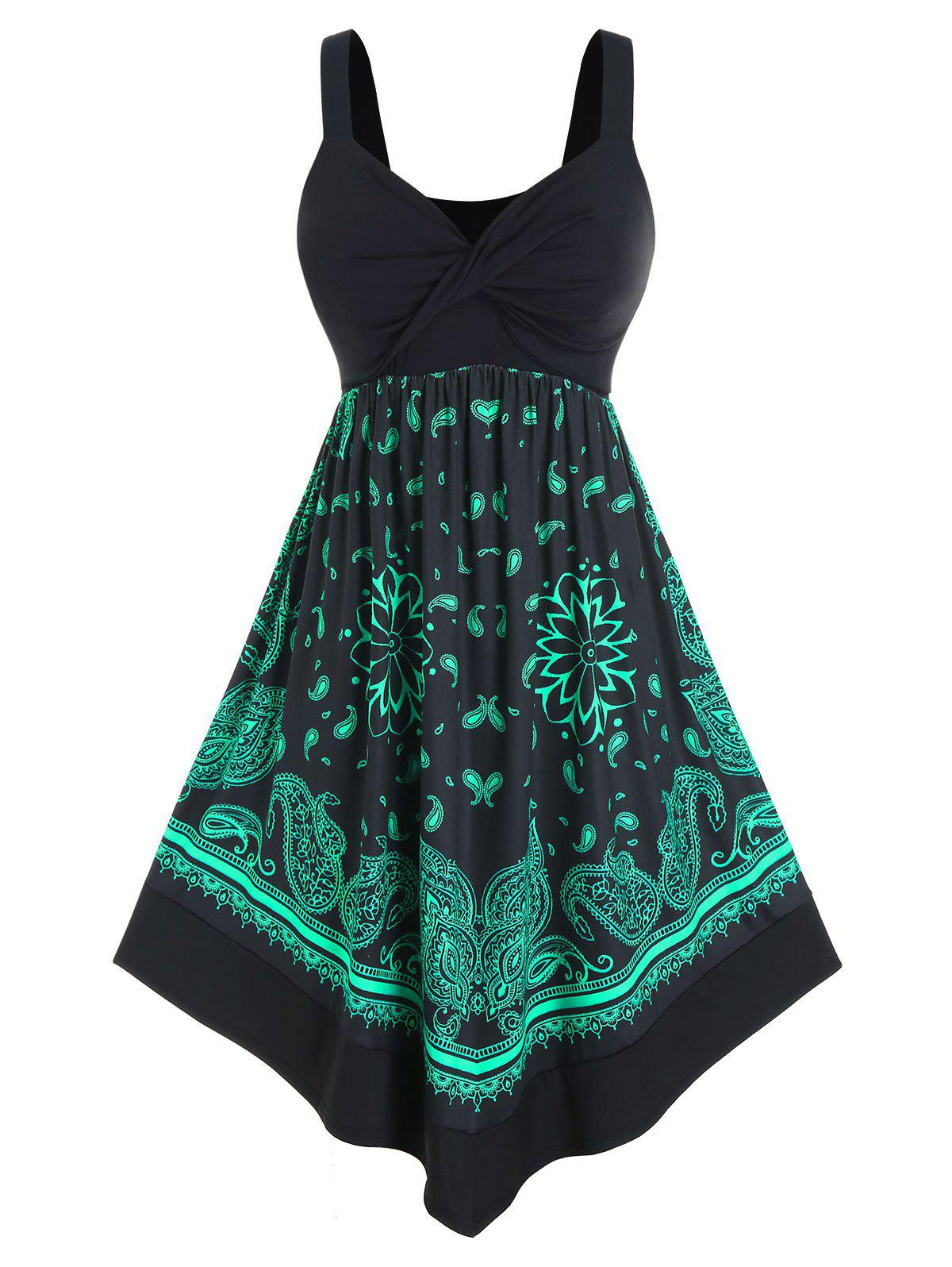 Store Plus Size Twisted Paisley Print Midi Backless Dress