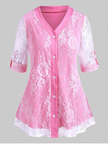Plus Size Roll Up Sleeve Lace Overlay Blouse - LIGHT PINK - L