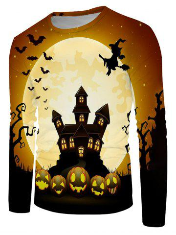 Halloween Night Bat Witches Graphic Crew Neck Long Sleeve T Shirt - MULTI - 3XL