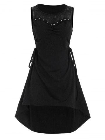 Lace Panel Side Cinched Ruched Rivet High Low Dress