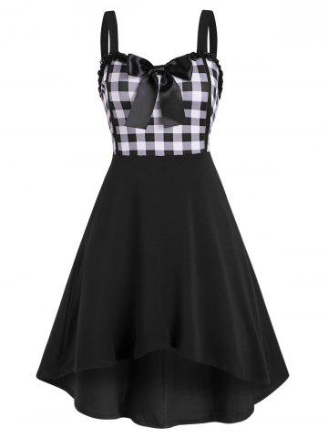 Lace Trim Bowknot Gingham Sleeveless High Low Dress