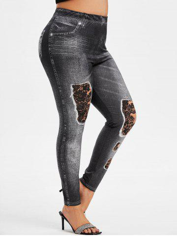 Plus Size 3D Distressed Jean Print Jeggings - BLACK - 5X