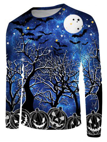 Halloween Night Pumpkin Print Long Sleeve T-shirt