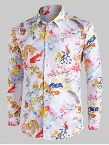 Chinese Dragon Floral Painting Vintage Button Up Shirt