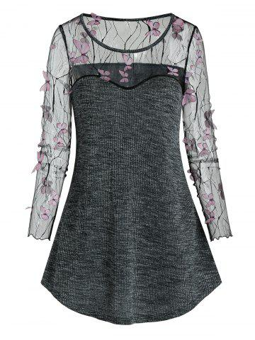 Sheer Butterfly Lace Panel Knitted Longline T Shirt - BLACK - M