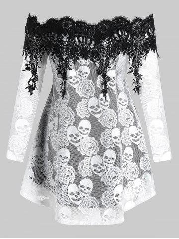 Plus Size Halloween Off Shoulder Skull Lace Tee
