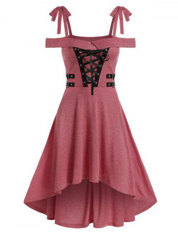 Cold Shoulder Lace-up High Low Gothic Dress
