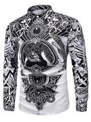 Luxury Print Button Long-sleeved Shirt -