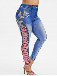 Plus Size Butterfly 3D Print High Waisted Jeggings -