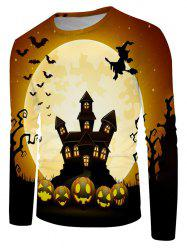 Halloween Night Bat Witches Graphic Crew Neck Long Sleeve T Shirt -