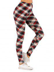 Checked High Waisted Leggings -