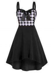 Lace Trim Bowknot Gingham Sleeveless High Low Dress -