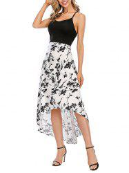 Floral Crisscross Maxi High Low Cami Dress -