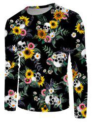 Skull Daisy Floral Print Crew Neck Casual T Shirt -