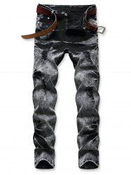 Acid Wash Zipper Fly Distressed Jeans -