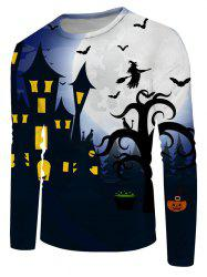 Halloween Bat Witches Night Graphic Crew Neck Long Sleeve T Shirt -