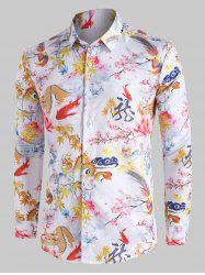 Chinese Dragon Floral Painting Vintage Button Up Shirt -