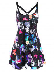 O Ring Strappy Skull Butterfly Print Tank Dress -
