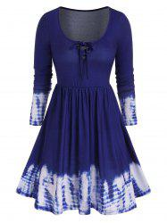 Tie Dye Long Sleeve Lattice Tee Dress -