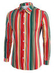 Colorful Striped Button Up Long Sleeve Shirt -