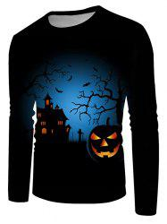 Halloween Night Pumpkin Graphic Crew Neck Casual T Shirt -