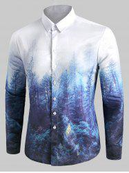 Forest Print Button Up Casual Shirt -