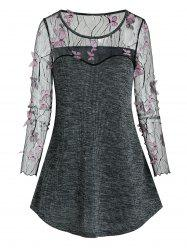 Sheer Butterfly Lace Panel Knitted Longline T Shirt -
