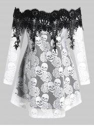 Plus Size Halloween Off Shoulder Skull Lace Tee -