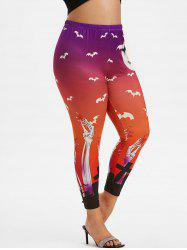 Halloween Bats Skeleton Print Plus Size Leggings -
