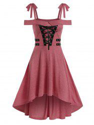 Cold Shoulder Lace-up High Low Gothic Dress -