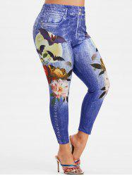 Plus Size 3D Jean Print Floral Ninth Jeggings -