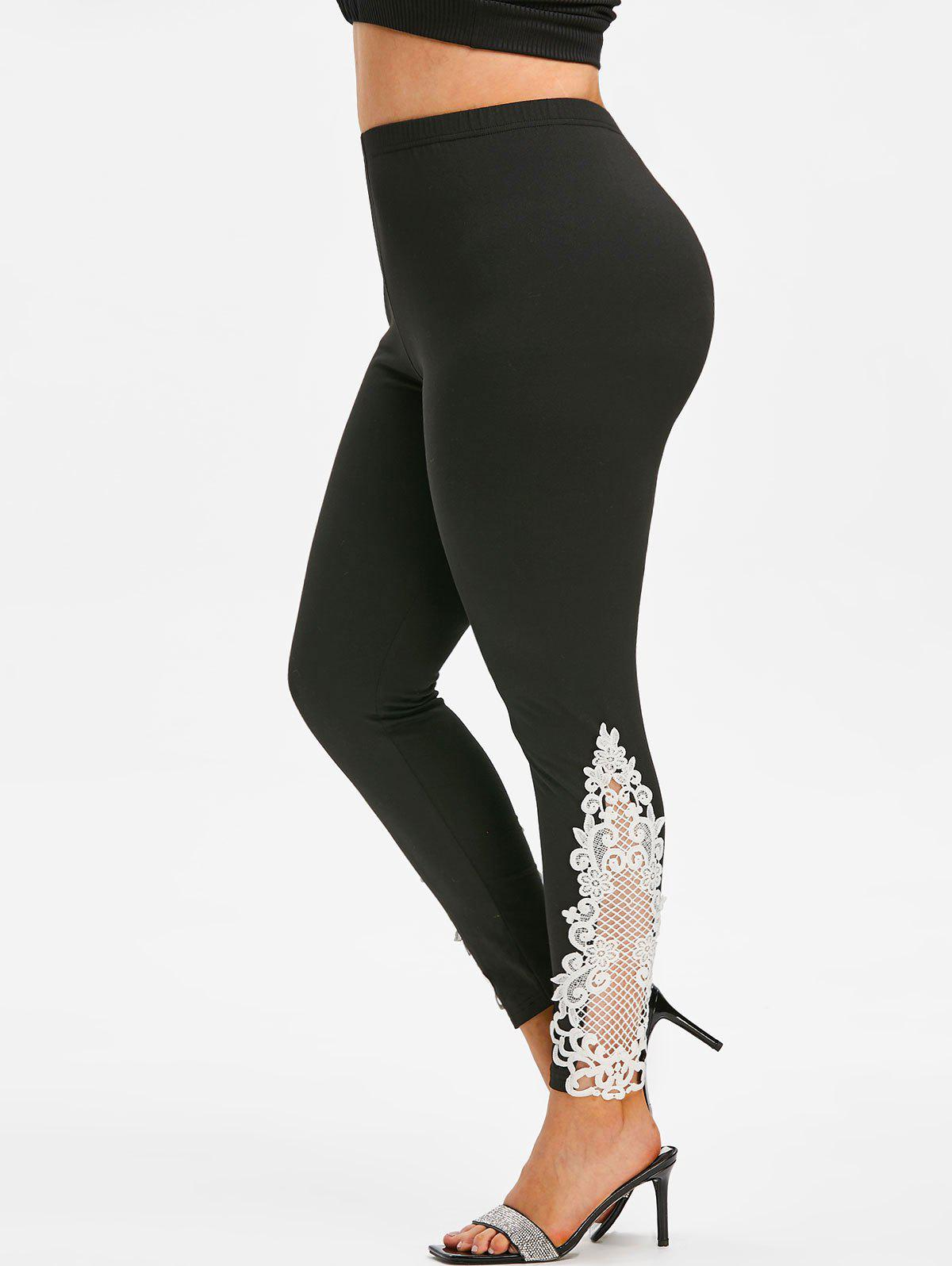 Plus Size Lace Insert Skinny Leggings фото
