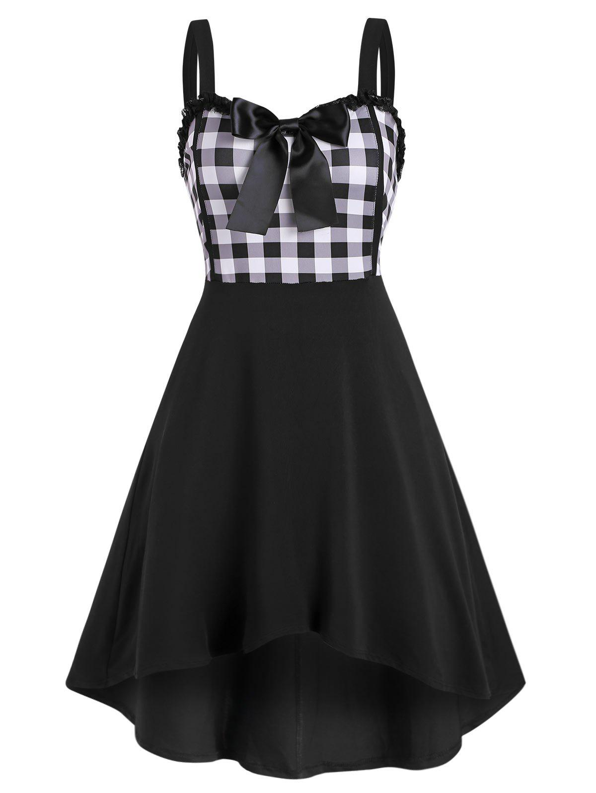 Latest Lace Trim Bowknot Gingham Sleeveless High Low Dress