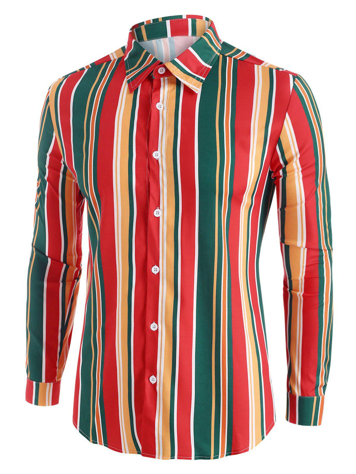 Shop Colorful Striped Button Up Long Sleeve Shirt