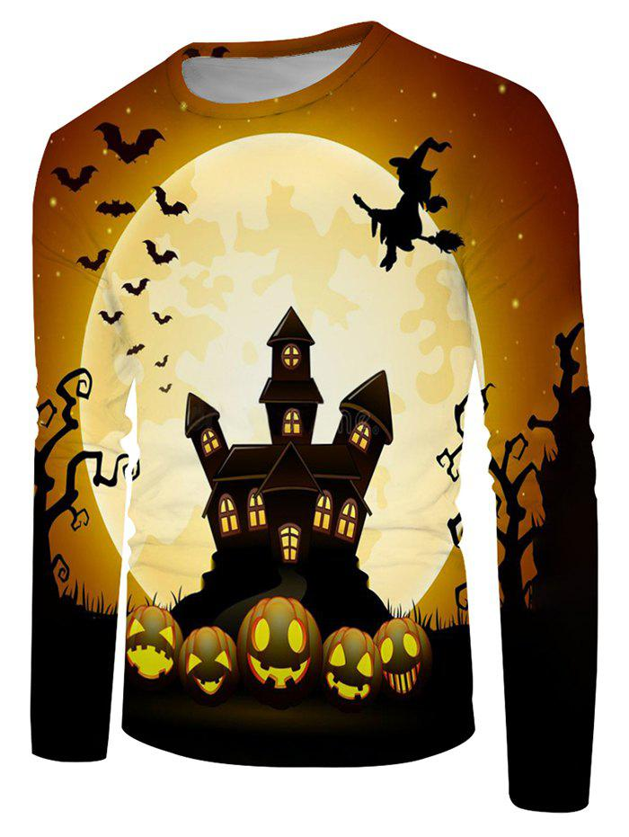 Discount Halloween Night Bat Witches Graphic Crew Neck Long Sleeve T Shirt