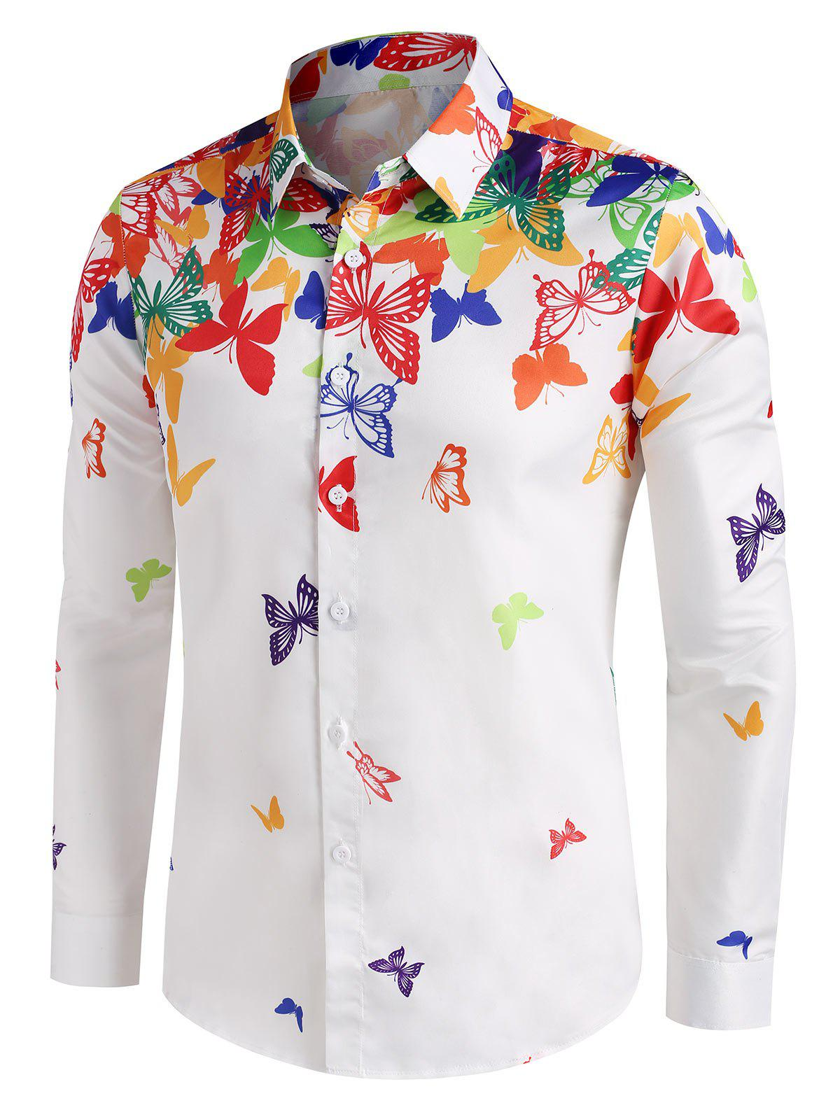 Shop Colorful Butterfly Print Button Up Long Sleeve Shirt
