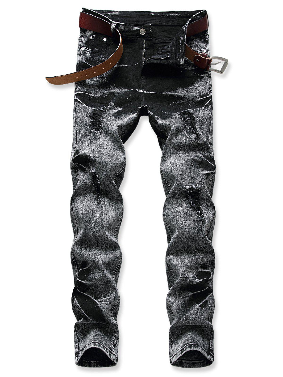 Hot Acid Wash Zipper Fly Distressed Jeans
