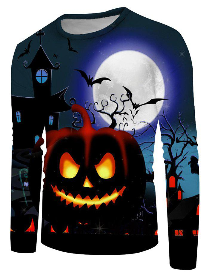 Shops Halloween Pumpkin Moon Graphic Crew Neck Casual T Shirt