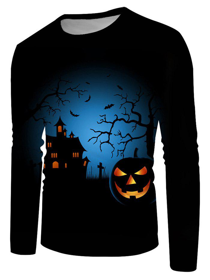 Buy Halloween Night Pumpkin Graphic Crew Neck Casual T Shirt