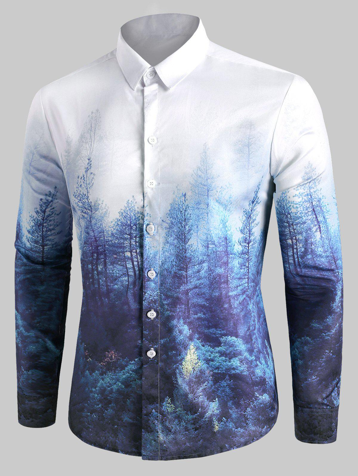 Latest Forest Print Button Up Casual Shirt