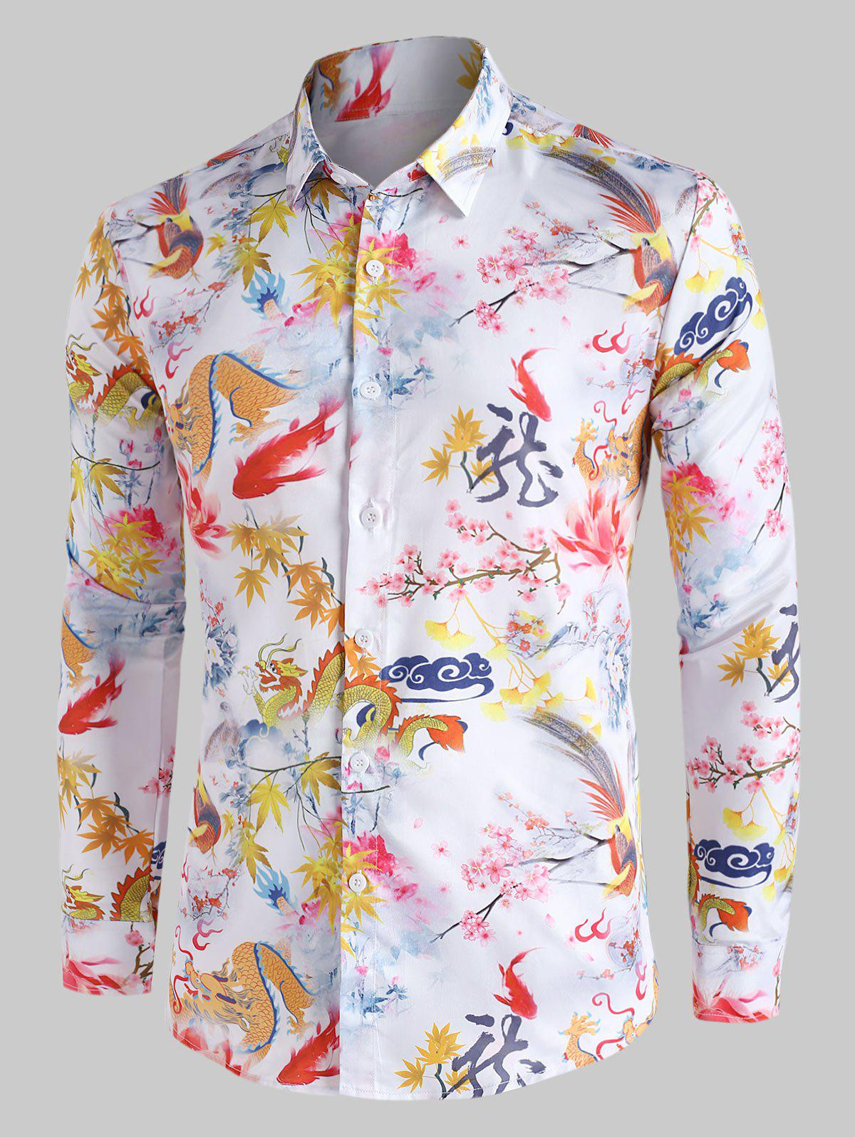Fancy Chinese Dragon Floral Painting Vintage Button Up Shirt