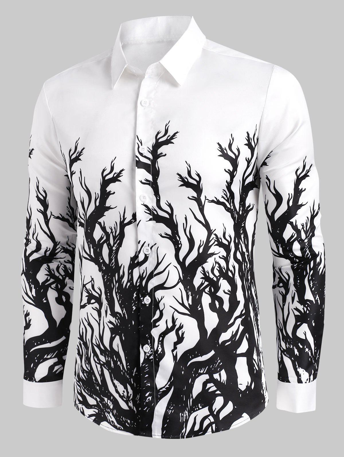 Trendy Tree Print Button Up Long Sleeve Shirt