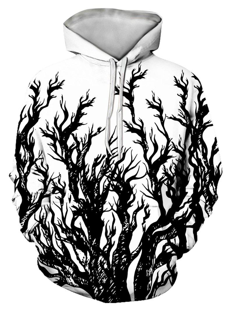 Hot Tree Print Front Pocket Drawstring Hoodie